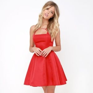 LULU's Gift of Rhyme Cute Red Skater Dress︱Size M